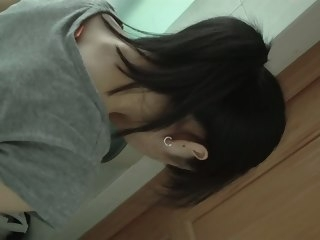 Dark haired asian ecumenical pissing on hidden cam amateur pissing